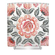 Cross Stitch Roses Shower Curtain