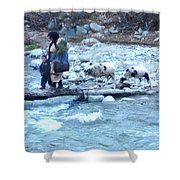 Crossing The Ourika River Shower Curtain