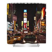 Crossing The Street At Times Square At Night Shower Curtain