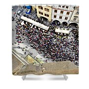Crowd Forms At Clock Tower - Prague Shower Curtain