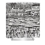Crowded Beach Black And White Shower Curtain