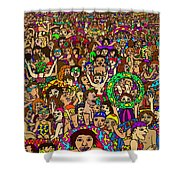Crowded Swimming Pool Shower Curtain by Karen Elzinga