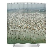 Crowds Of People At Jones Beach Shower Curtain