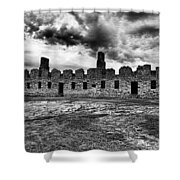 Crown Point Barracks Black And White Shower Curtain