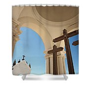 Crucifix At Basilica Of Our Lady Of Shower Curtain