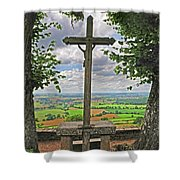 Crucifix Overlooking The French Countryside Shower Curtain