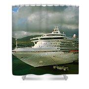 Cruise Ship In Port Shower Curtain