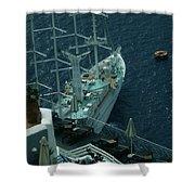 Cruiser In Santorini Island Shower Curtain