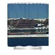 Cruiser Leaving Santorini Island Shower Curtain