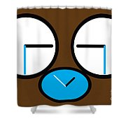 Crying Monkey In Clock Faces Shower Curtain