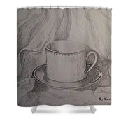 Cup And Saucer On Material Shower Curtain