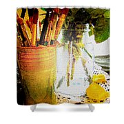 Cup O Brushes Shower Curtain