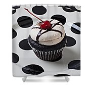 Cupcake With Cherry Shower Curtain