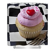 Cupcake With Heart On Checker Plate Shower Curtain by Garry Gay