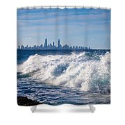 Currumbin Beach Waves On Rocks Shower Curtain