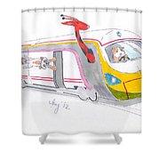 Cute Cartoon High Speed Train And Animals Shower Curtain