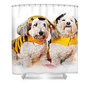 Cute Dogs In Halloween Costumes Shower Curtain