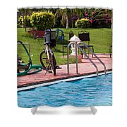 Cycle Near A Swimming Pool And Greenery Shower Curtain