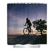 Cyclist At Sunset, Northern Arizona Shower Curtain