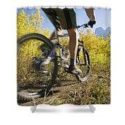 Cyclist Rides Mountain Bike Among Trees Shower Curtain