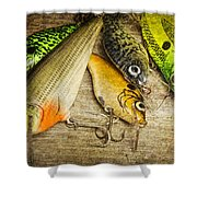 Dad's Fishing Crankbaits Shower Curtain