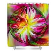 Dahlia Flower Energy Shower Curtain
