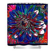 Dahlia With Intense Primaries Effect Shower Curtain