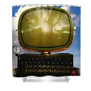 Dali.s Surreal Steampunk Personal Computer With Upgrades Shower Curtain