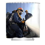 Damage Controlmen Conduct Fire Hose Shower Curtain