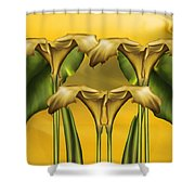 Dance Of The Yellow Calla Lilies Shower Curtain