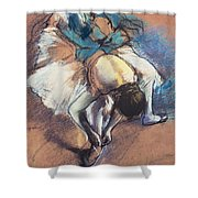 Dancer Fastening Her Pump Shower Curtain by Edgar Degas