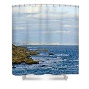 Dappled Sunlight Falls Across Rugged Shower Curtain