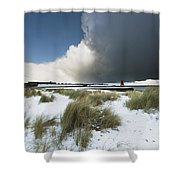 Dark Clouds And Blue Sky Over A Red Shower Curtain