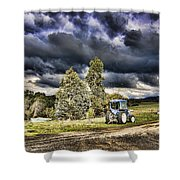 Dark Clouds Over The Farm Shower Curtain