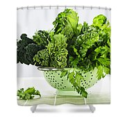 Dark Green Leafy Vegetables In Colander Shower Curtain by Elena Elisseeva