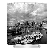 Darling Harbor- Black And White Shower Curtain