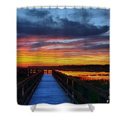 Dawn Skies At The Fishing Pier Shower Curtain