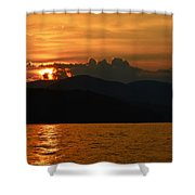 Day Ends In Orange Shower Curtain