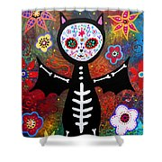 Day Of The Dead Bat Shower Curtain
