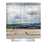 Daymer Bay Beach Landscape In Cornwall Uk Shower Curtain
