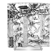 De Re Metallica, Mine Shafts, 16th Shower Curtain by Science Source