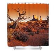 Dead Tree In Desert Monument Valley Shower Curtain