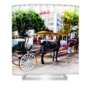 Decatur Street At Jackson Square Shower Curtain by Bill Cannon