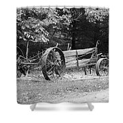 Decaying Wagon Black And White Shower Curtain