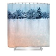 December Snow Shower Curtain
