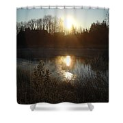 December Sunrise Off Smooth Water Shower Curtain