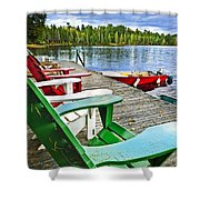 Deck Chairs On Dock At Lake Shower Curtain by Elena Elisseeva