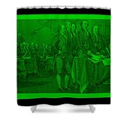 Declaration Of Independence In Green Shower Curtain by Rob Hans
