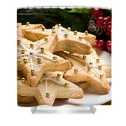 Decorated Christmas Cookies In Festive Setting Shower Curtain