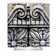 Decorative Iron Gate In Winter Shower Curtain